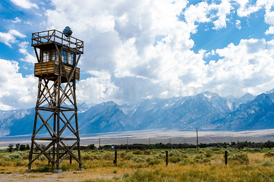 "Guard Tower at Manzanar ""Relocation Center"" for Japanese American citizens"