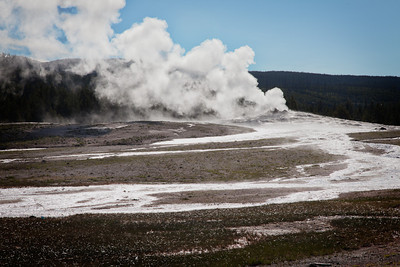 Old Faithful steam and runoff