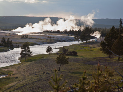 Firehole River and Midway Geyser Basin steam