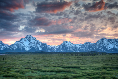 Tetons at sunset, from Jackson Lake Lodge