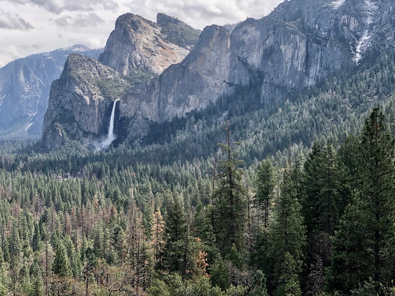 Cathedral Roack, Bridalveil Falls, and the Leaning Tower