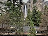Upper Yosemite Falls over the Cedar Building at Yosemite Lodge