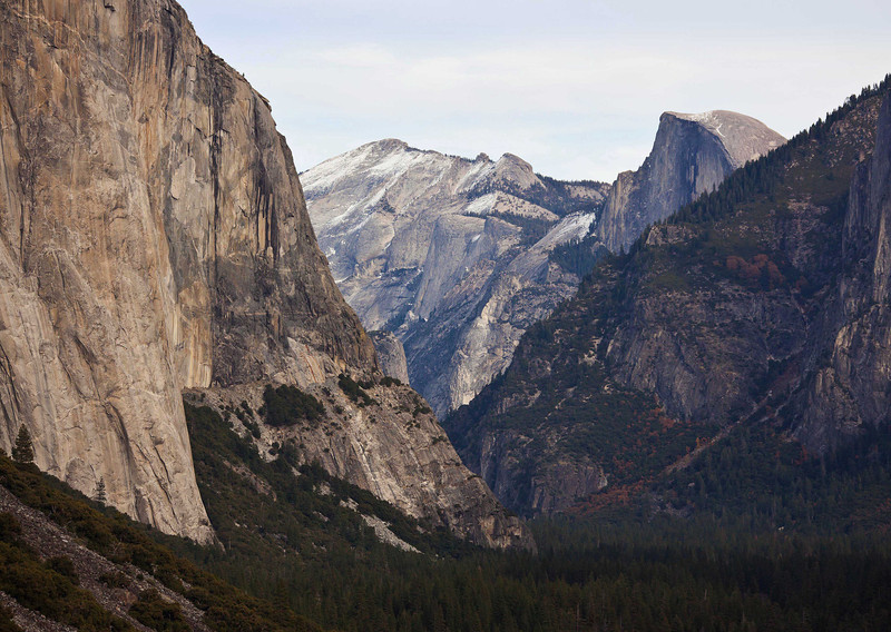 Classic view of Canyon leading to Yosemite Valley from Tunnel View