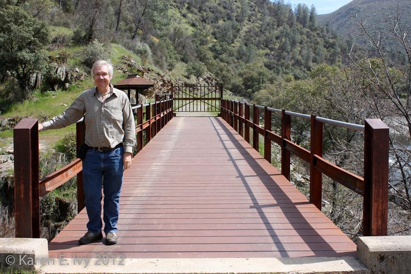 New trestle bridge, Railroad Flat, with Jim