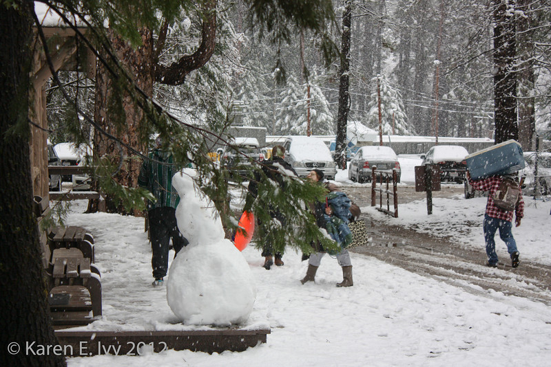 Snowman at the next cabin, Camp Curry