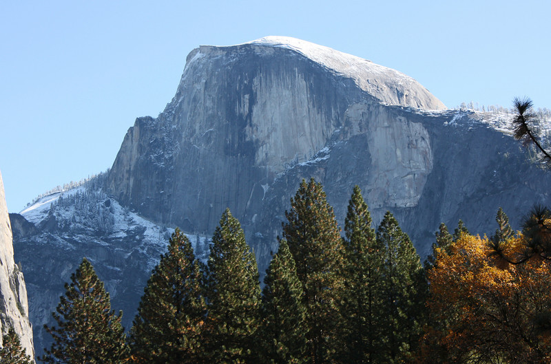 Half Dome looms over the Ahwahnee
