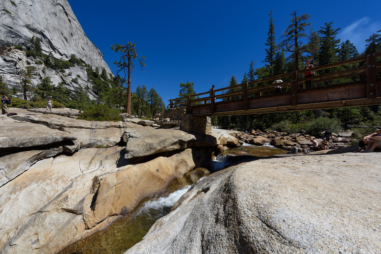 The footbridge over the Merced river at the top of Nevada Fall.