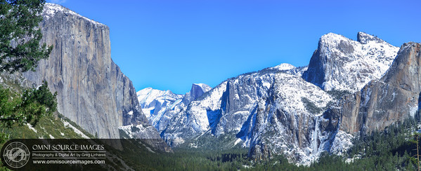 Yosemite Winter Panorama. Original stitched from five vertical images equaling a total of 11,885 x 4837 pixels.