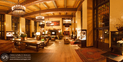 The Great Lounge - Ahwahnee Hotel - Yosemite National Park HD Panorama (8,783 x 4335 pixels/300dpi). Digitally stitched from six vertical images. Each image exposed for 30 seconds at f/16, ISO 50, 24mm. February 25, 2013 at 9:25 PM.