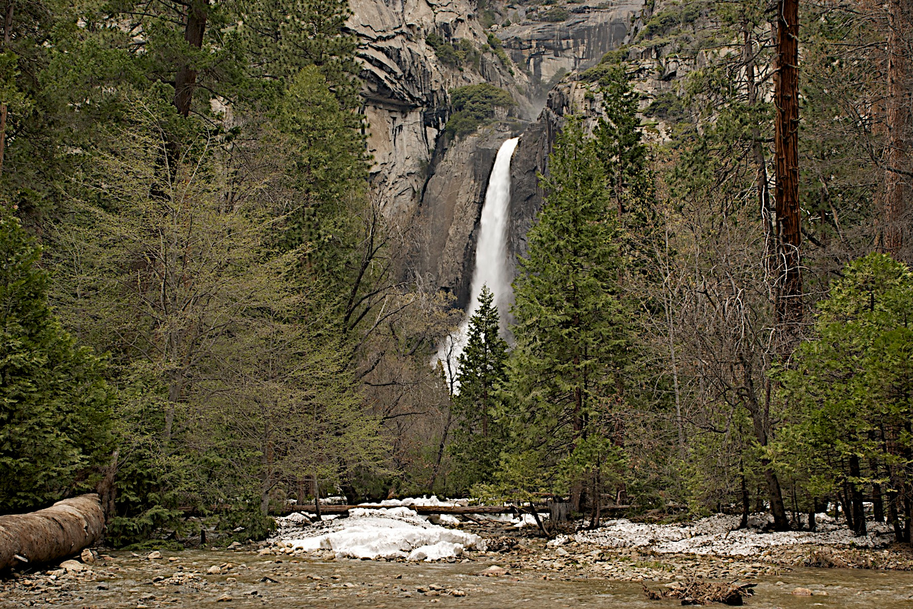 Lower Yosemite Falls with Snow