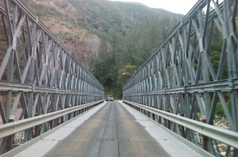 Crossing the Merced River on a temporary bridge