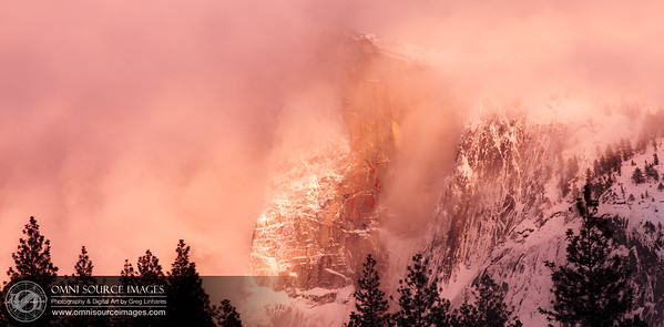 Half Dome in the Clouds at Sunset. Yosemite National Park - Feb. 26, 2011 at 5:13 PM. 1/10 sec at f/22, ISO 50, 200mm.
