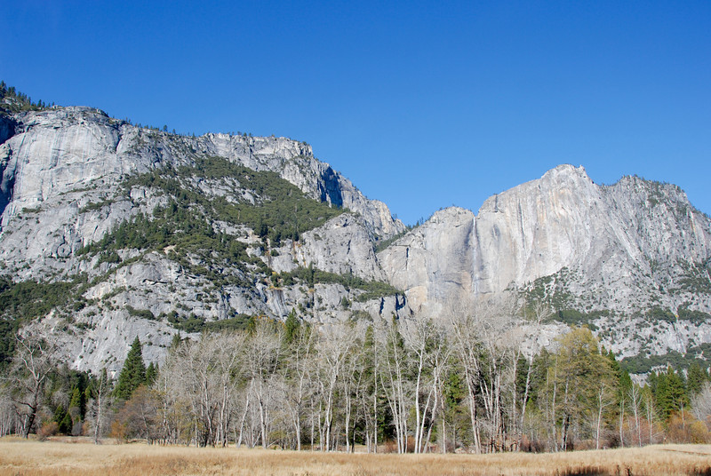 "<span id=""title"">Welcome to Yosemite</span> Yosemite Falls from a pull off along the road. After driving all morning from LA, it was great to see this view."