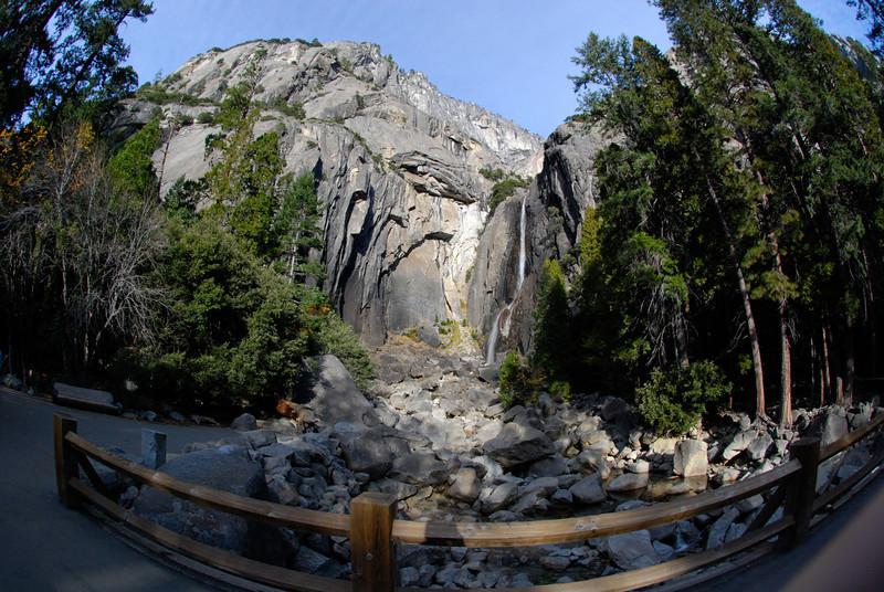 "<span id=""title"">Fisheye Falls</span> Lower Yosemite Falls"