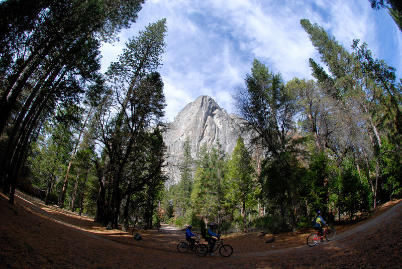 """<span id=""""title"""">Washington Column</span> Some bicyclist ride by on the path to Mirror Lake. See previous photo for a climber who was scaling this."""