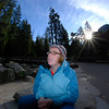 "<span id=""title"">Ann</span> Ann looking up at Yosemite Falls from the viewing area"