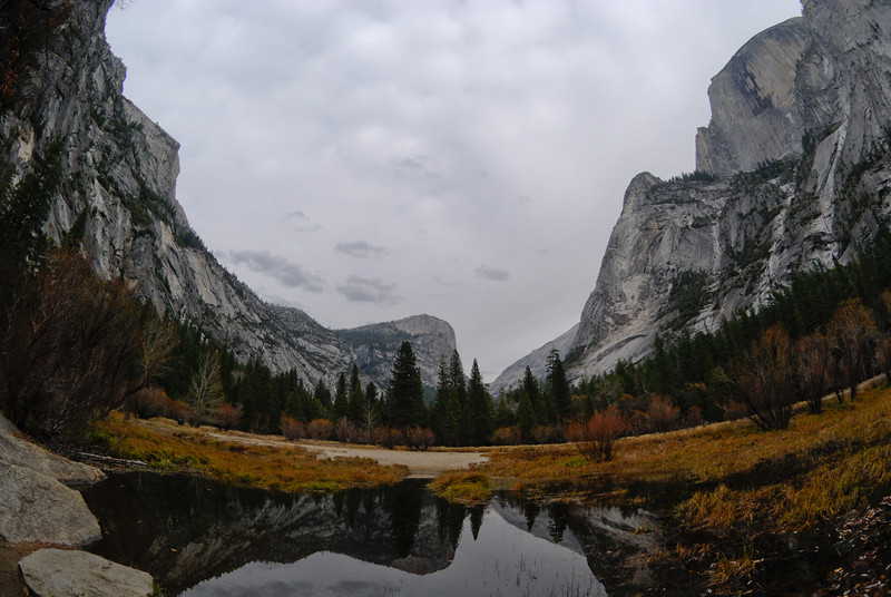 """<span id=""""title"""">Mirror Lake</span> Not really a lake, but a wide part of the river, which wasn't really flowing much this time of year. In high-water times, it gives awesome reflections of Half Dome, I'm told. This photo also gives a good idea of the weather at the time - it was getting ready to rain."""