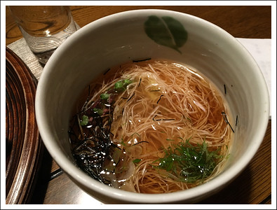 This inn made special effort to accomodate my gluten sensitivity.  Seishi got soba noodles which are a specialty in this area.  They made noodles for me from nagaimo, a type of mountain potato.  They were so good!  I want to try to make them myself.