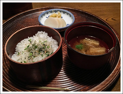 Rice with mini anchovies, miso soup and pickles.