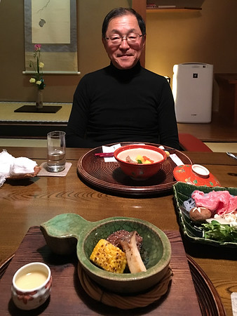 "Seishi got shabushabu, cooked in soy sauce, and I got steak and grilled corn.  The steak was ""wagyu"" I am sure.  It was so tender and tasty."