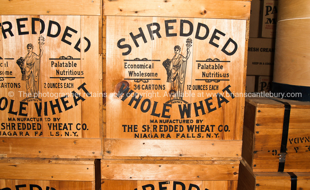 "Cargo, shredded wheat cases in stowage on the river boat. Close up. <br /> <br /> SEE ALSO:  <a href=""http://www.blurb.com/b/893025-north-to-alaska"">http://www.blurb.com/b/893025-north-to-alaska</a>"