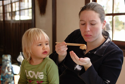Cindy and Frankie eating oshiruko in a little coffee shop.  It was Cindy's first visit to Japan.  She did really well with the new food experiences.