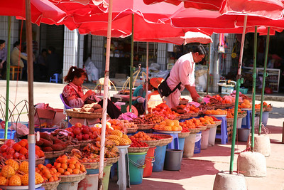 A local market stand in Yunnan