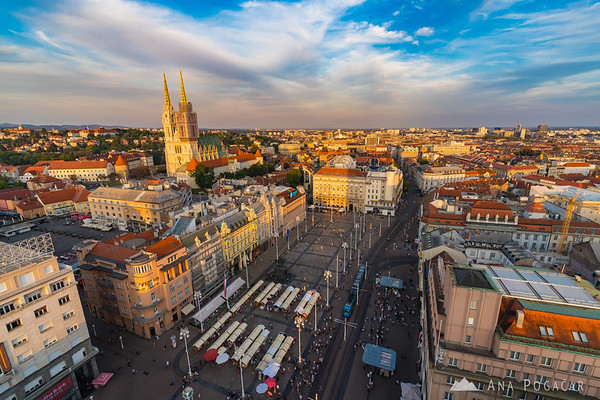 Zagreb from Zagreb 360° observation deck at sunset
