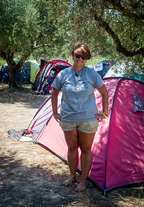 Archelon Camp - Rachel by her tent