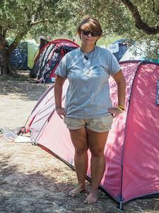 Rachel by her tent