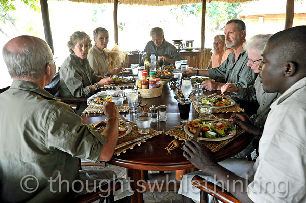 Kuyenda Bush Camp. The friendship flows as guests, managers and guide share lunches and dinners at one table. This was one of the advantages of limiting the tour to six people.