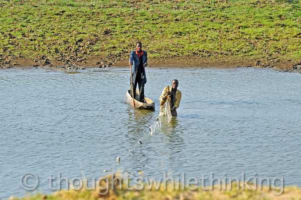 Local fishermen on a tributary of the Kapamba River.