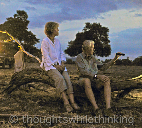 Babette and Phil, connecting us with recent lion and leopard adventures at our sundowner rendezvous.