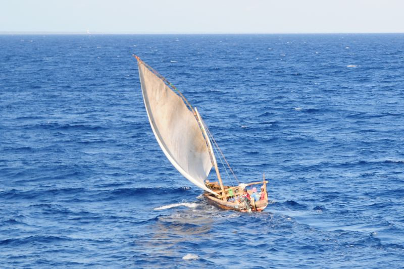 a dhow sailing in the Indian Ocean off the coast of Dar es Salaam