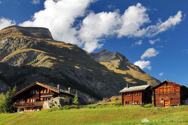 Typical houses in Zermatt.