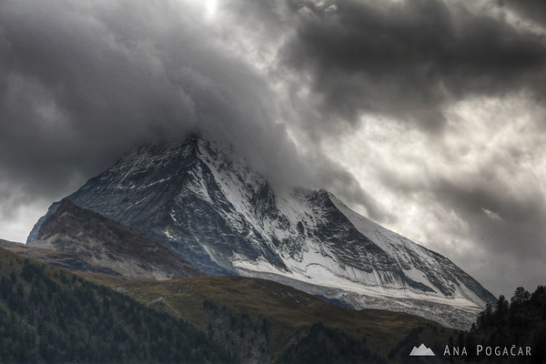 Mt. Matterhorn on the first day in Zermatt. Some people stay here for weeks and never see the peak!