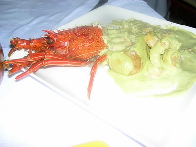 Lobster, baked potato and shrimp with a basil cream sauce at Kau-Kan. Delicious!