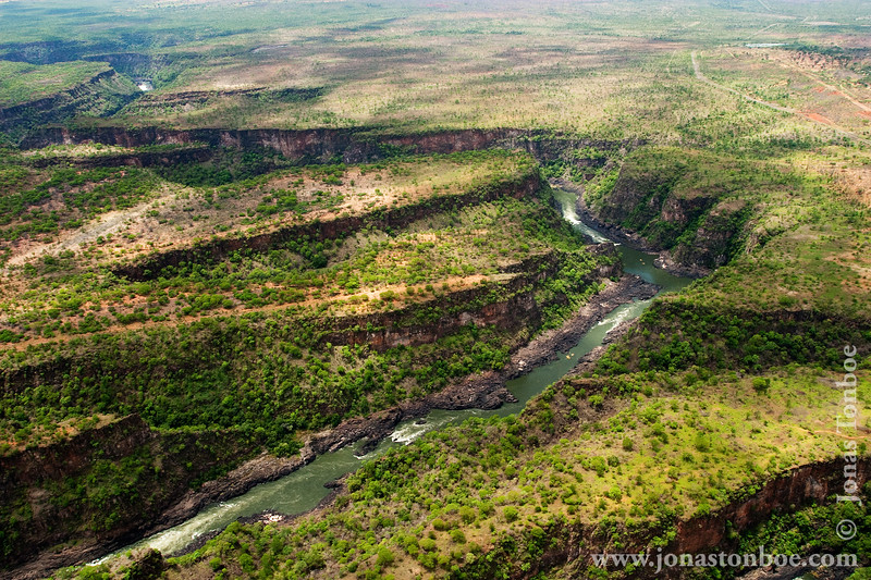 Zambezi River and Gorge Seen From Helicopter