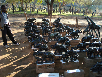 Market in Victoria Falls town selling Shona stone sculptures - I bought one of these rhinos