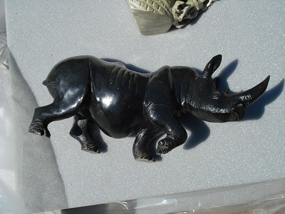 Rhino in black serpentine purchased from the market