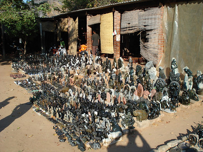 Market in Victoria Falls town selling Shona stone sculptures