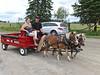 Horse drawn cart in front of Zion Lutheran Church in Wawbewawa, Ontario
