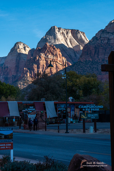 The morning sun highlights some of Zion's peaks.