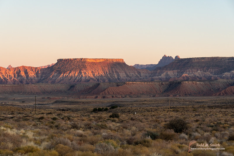 Got into Springdale, the town outside of Zion, early evening with the setting sun highlighting the surrounding mesas.