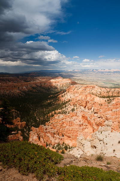 A storm front moves across Bryce Canyon National Park.