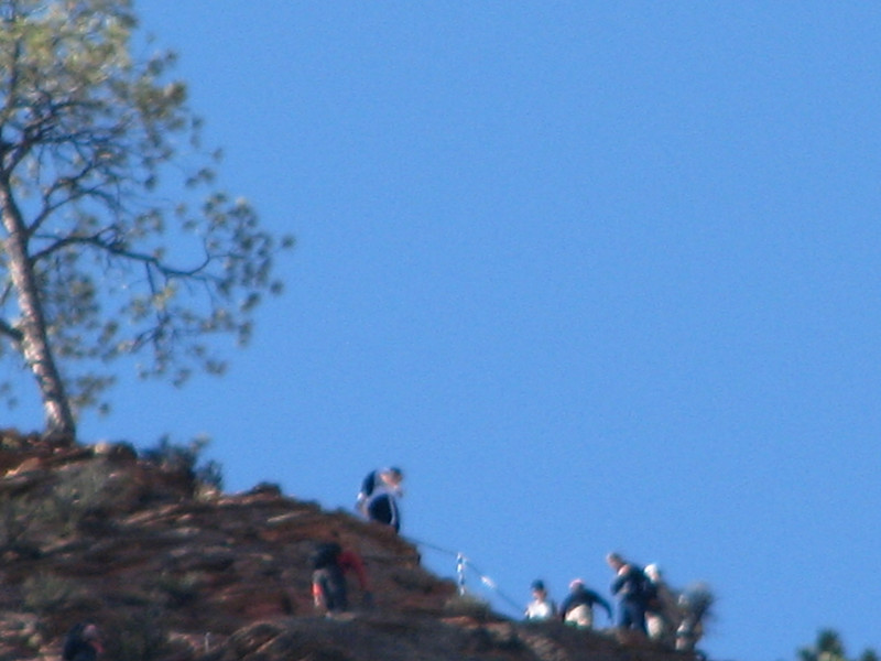 Hikers on the Angels Landing Trail, this photo pushed the limits of my camera, i had to use maximum zoom to take this photo.