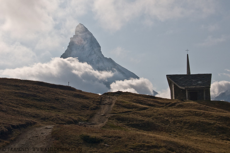 Matterhorn and Chapel.  View shot from Riffleburg, Switzerland, September afternoon.