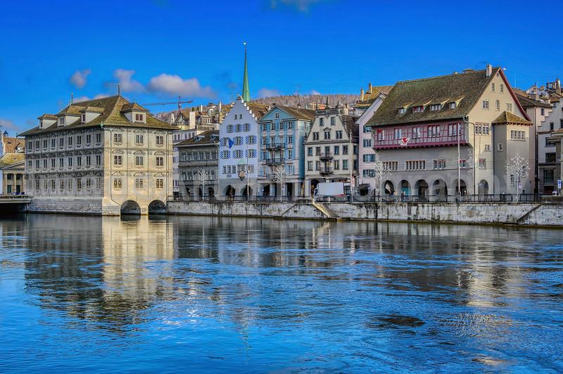 The beautiful city of Zurich, Switzerland, in winter