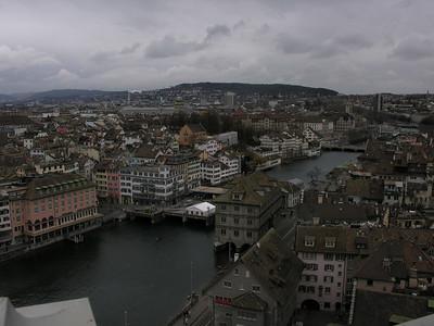 Switzerland, Zurich, view from Grossmuenster (Great Church) - Rathaus (Town Hall) - Limmat River Switzerland, Zurich