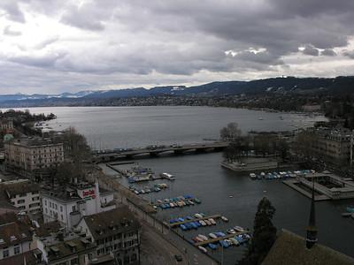 Switzerland, Zurich, Zurichsee (Lake Zurich) view from Grossmuenster (Great Church) Switzerland, Zurich